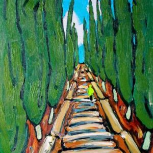 Road into the Sky - SOLD Painting, 39.4 H x 23.6 W x 1.2 in Lenur Velilyaev
