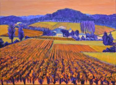 Cahors vineyard, France Painting, 21.3 H x 28.7 W x 1.2 in Mercedes Choufoer