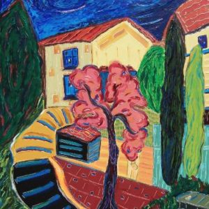 The Pink Tree in Dieulefit Painting, 40 H x 30 W x 2 in Nan Hass Feldman