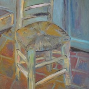"""Korsi (Chair) after Van Gogh 1888"". Original and Prints available. Painting, 39.4 H x 27.6 W x 1 in Mo Negm United Kingdom"