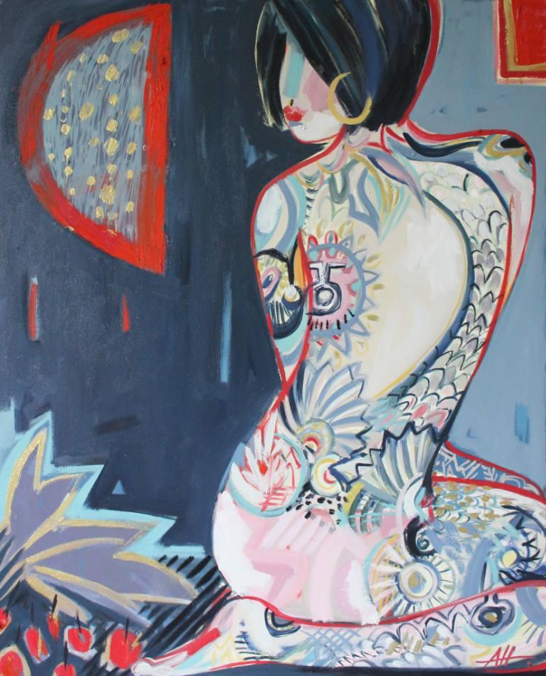 saatchi-art-floral-patterned-nude-portrait-anna-hymas