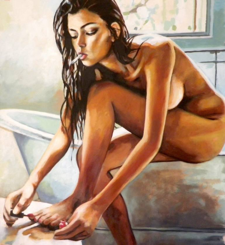 saatchi-art-modern-statement-nude-painitng-thomas-saliot